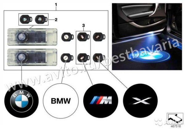 Светодиодные планки подсветки дверей LED BMW